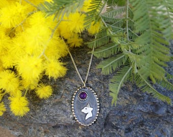 Unicorn silver necklace, Amethyst necklace, Unicorn jewelry, Dainty unicorn necklace, Necklace for women Necklace for girl Little pony girls