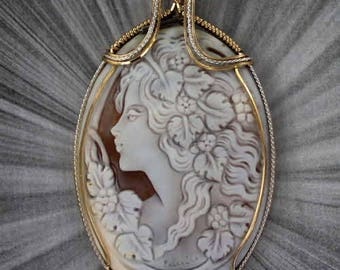 Large Cameo Pendant Necklace in Sterling Silver and 14kt rolled gold Wire Wrapped hand carved