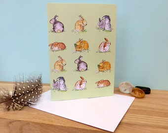 Rabbit Run cute illustration, blank greeting card, 340gsm 105mm x 148mm, matt inside, plain white envelope
