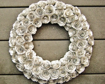 """14"""" hymnal sheet music or book page spiral rose paper flower recycled wreath for farmhouse shabby chic junk Christmas decorations"""