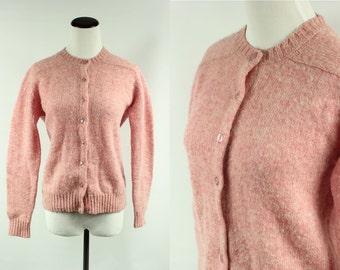 60s Carnation Pink Marled Wool Cardigan Sweater