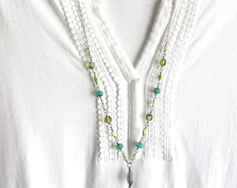 Green and turquoise necklace, Tassel Necklace, Green tassel necklace, Green and aqua necklace, Long tassel necklace, modern vintage style
