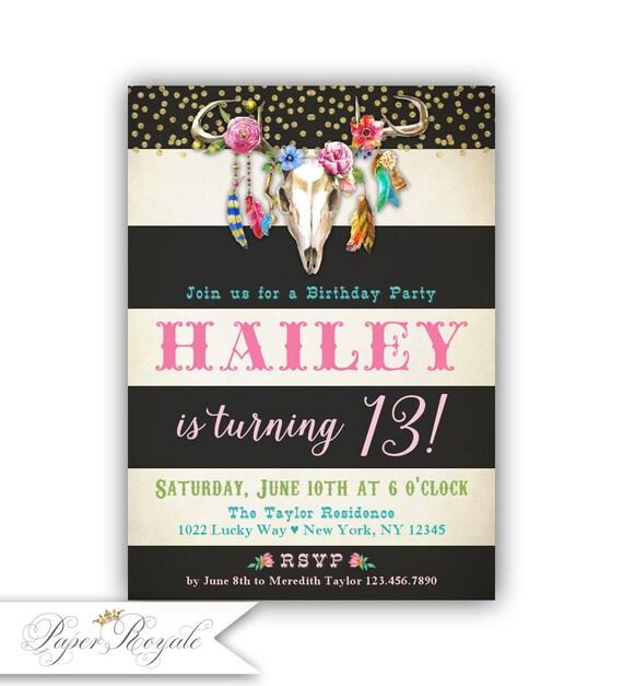 Girls boho birthday invitations for girls 13th birthday boho like this item filmwisefo Gallery