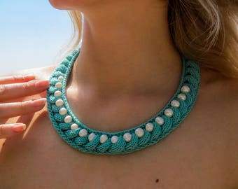 Knit necklace cotton bead necklace pearls necklace turquoise necklace crochet necklace beaded necklaces handmade jewelry crochet jewelry