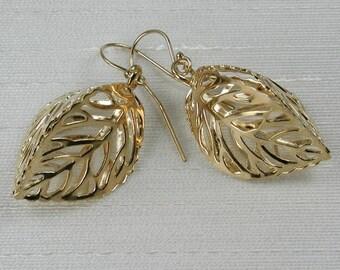 Gold Lantern Leaf Filigree Earrings