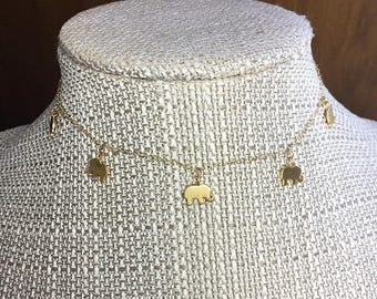 ELLE * GOLD Elephant Choker * Necklace * 14k Gold Filled Chain * Dangling Dancing Elephants * Delicate * Dainty *  Minimal * Simple * Fun