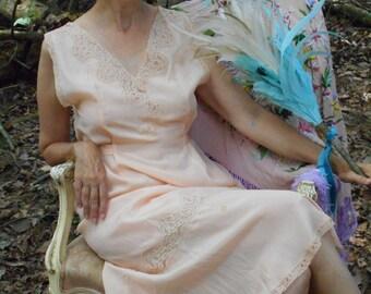 Pretty 1930's Peach Silk Nightgown/Lingerie