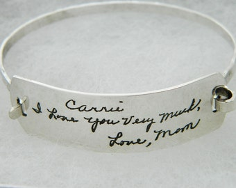 Handwriting Bracelet  Personalized Signature Jewelry in Sterling Silver Free Gift Wrap