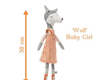 WOLF BABY GIRL doll - Plushie Stuffed Toy -  Softie for Girl - Animal Doll - rag doll