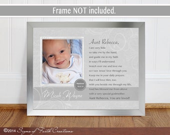 Personalized GODPARENTS Gift for Baptism.  PRINT for Godmother Gift  or Godfather Gift.  Poem with Baby's photo. Gift from Godchild.