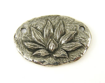 Lotus Pendant Two Hole Pewter Lotus Flower Pendant for Necklace Green Girl Studio Jewelry Charm |S26-6|