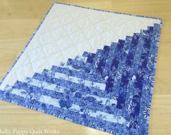 Blue Table Topper, Quilted Table Decor, Blue and White Log Cabin Quilt Block, Floral Blue Table Mat, Cobalt, Indigo, Sapphire