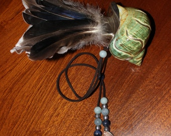 Water Smudge Fan - turbo sea shell, duck feathers joined with sterling silver