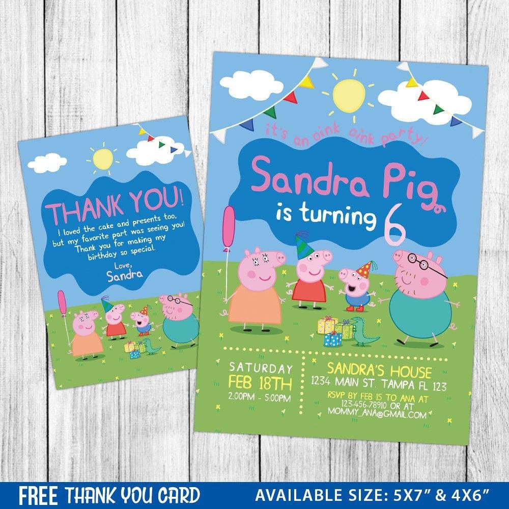 Peppa Pig Invitation Peppa Pig Birthday Invitation Peppa Pig