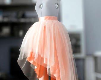 Tulle wedding skirt High low ball gown skirt Blush layered skirt Peach tutu Prom dress separate Formal taffeta skirt  Bridesmaid's skirt