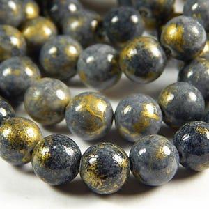 16 Inch Strand - 10mm Natural Mashan Jade Round Beads - Gray - Slate Gray - Gold Dust - Gemstone Beads - Jewelry Supplies