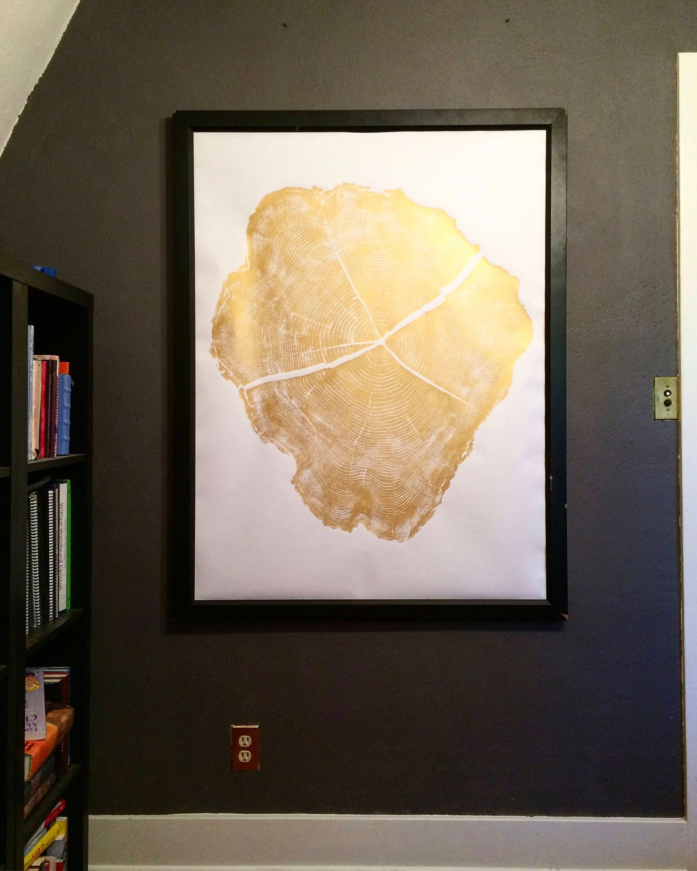 Large gold tree rings, oversized gold art, Black locust tree ...