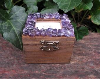 Amethyst keepsake box, amethyst and wood jewelry box, picture keepsake box, treasure box