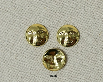 Tiny Moon Face Brass Stamping - 12 for 3.00 - Bin# 3