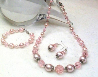 Pink Pearl & Crystal Necklace, Pink Necklace Set, 3 Piece Set, Classic Necklace