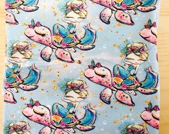 Mermaids and turtles 1/2 yard cotton lycra knit