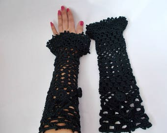 Black Crochet gloves, Special occasion, evening shimmery crochet gloves, Crochet mittens, Victorian Fingerless Mittens, Knit Lace Gloves