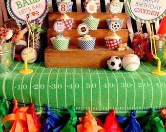All Star Sports Birthday, All Star Sports Party, All Star Sports Cupcake Toppers, Cupcake Toppers, Sports, Lauren Haddox Designs