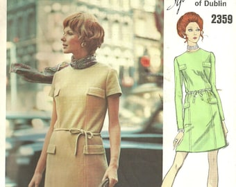 Vogue 2359 / Couturier Design / Vintage 60s Sewing Pattern By Sybil Connolly / Dress / Size 14 Bust 36.