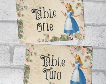 Alice In Wonderland Wedding Table Number cards
