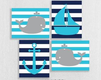 Whale Nursery Art Prints - High Seas Nursery - Nautical Nursery - Sea Theme Nursery Wall Art - Ocean Theme Decor - Nautical Bathroom Art