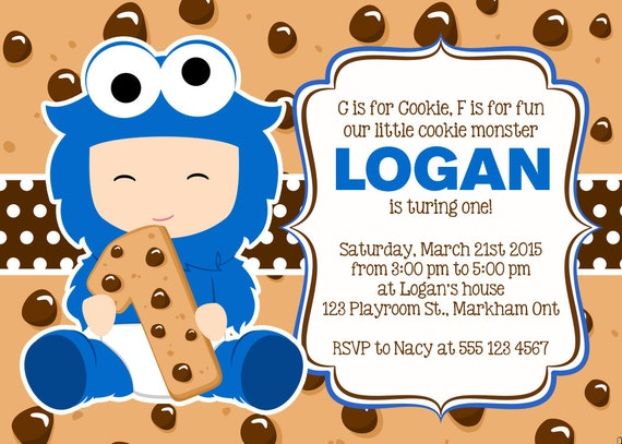 Cookie monster invitation cookie monster birthday party cookie monster invitation cookie monster birthday party invitation cookie monster first birthday cookie monster theme birthday party filmwisefo Gallery
