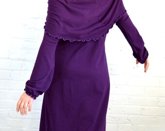 On Sale!!! Large Cowl Neck Dress in Plum Purple