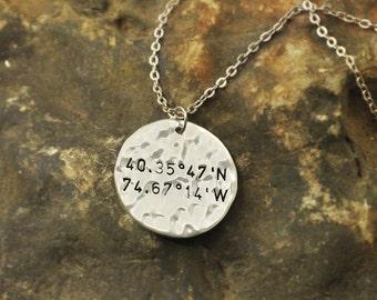 Mothers Day Gift Latitude Longitude Necklace with GPS Coordinates on Custom alloy Charm Latitude Longitude jewelry