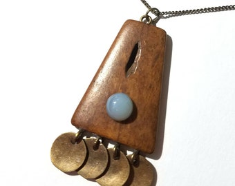OOAK - Bone and blue chalcedony talisman necklace
