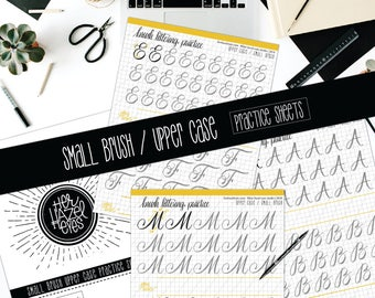 UPPERCASE, SMALL BRUSH Pen, Practice Sheets, Printable, Downloadable, Beginners, Learn Hand-Lettering, Printable Practice Pages, Handwriting