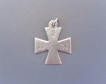 Vintage Sterling IHN Maltese Cross Charm