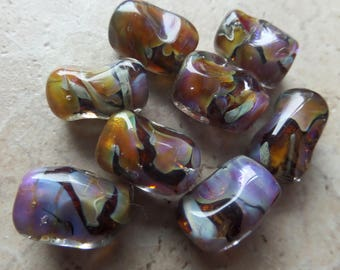 stoursglass  Organic Shaped Encased Double Helix Lampwork Beads
