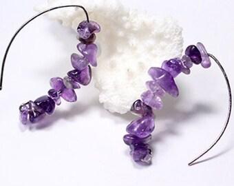 gemstone earrings cluster jewelry purple earrings amethyst gift jewelry statement earrings boho jewelry girlfriend gift bold earrings ї08
