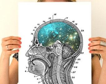 Cosmic Brain Human Anatomy Art Anatomical art prints, wall art poster, Human anatomy art, galaxy art  wall art, SKA112WA3