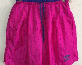 Vintage Umbro Soccer Shorts - Adult Medium - Pink Purple Retro 80s 90s
