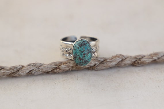 BLUE TURQUOISE RING - Adjustable - One of a kind - Sterling Silver - Healing Crystal - Statement - Navajo - Gemstone - Chakra - Gift - Rare