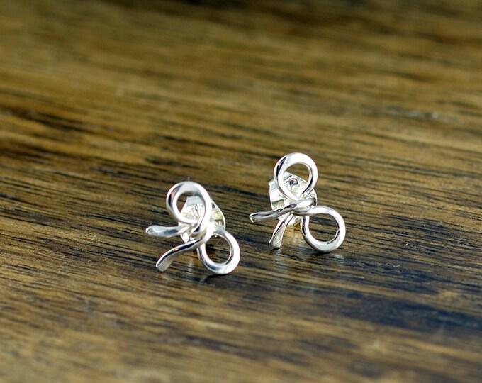 sterling silver bow earrings - bridesmaid earrings - stud earrings - bride jewelry - wedding jewelry - wedding earrings