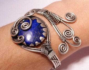 lapis lazuli bracelet - lapis cuff bracelet - lapis bracelet - wire wrapped jewelry handmade - wire wrapped cuff bracelet