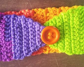 Crochet headband Rainbow earwarmer crochet earwarmer rainbow headband