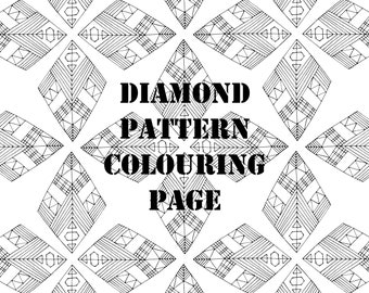 Diamond Pattern Digital Printable Colouring Page