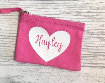 Personalised Name Heart Make Up Bag // Canvas White Black Pink Navy Grey Natural Custom Birthday Wedding
