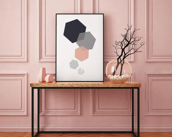 Hexagon grey pink, graphic print, wall print, framed print, home print, home decor, marble print, Wall art prints, A4 print
