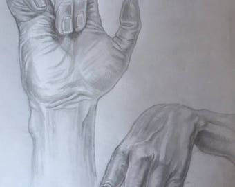 hand study, black and white pencil drawing, hand made