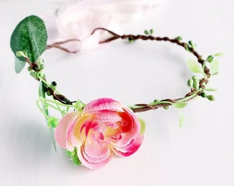 Baby Flower Crown, Peach Hair Wreath, Children Photo Prop, Newborn Photography, Girls Crown, Boho Crown, Baby Floral Crown, Flower Girl Halo