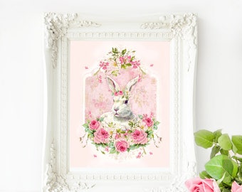 Rabbit printable, Easter printable, Easter bunny, nursery decor, Instant Download 8x10, Personal use only